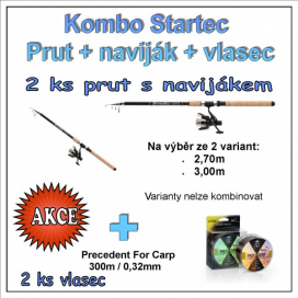 AKČNÍ SET Startec Prut s Naviják + Vlasec 1+1  Varianta 2,70m