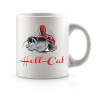Hell-Cat hrnček biely s logom