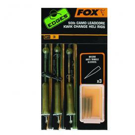 Fox šnůrka Edges 50lb Camo Leadcore Kwik Change Heli Rigs
