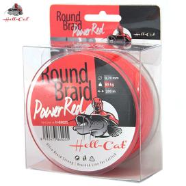Hell-Cat Splétaná šňůra Round Braid Power Red 200m|0,80mm, 100kg