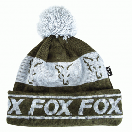 Fox čepice Green & Silver lined bobble