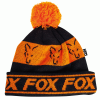 Fox čiapky Black & Orange lined bobble
