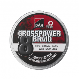 Rybářská šňůra Dam Crosspower 8-Braid 0.10Mm / 5.4Kg/12Lb /150M - Dark Grey